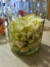 Ginger gold apples roughly chopped