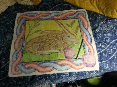 roman bunny mosaic fresco